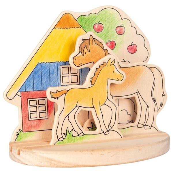Ausmalbild aus Holz zum Aufstellen, Ponyhof