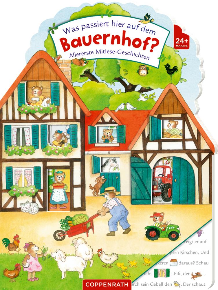 Was passiert hier auf dem Bauernhof?: Allererste Mitlesegeschichten | Pappbilderbuch
